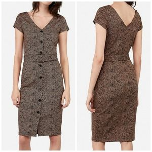 Express Belted Button Front Jacquard Sheath Dress